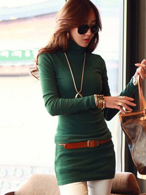 Solid Color Turtle Neck Women's Sheath Dress