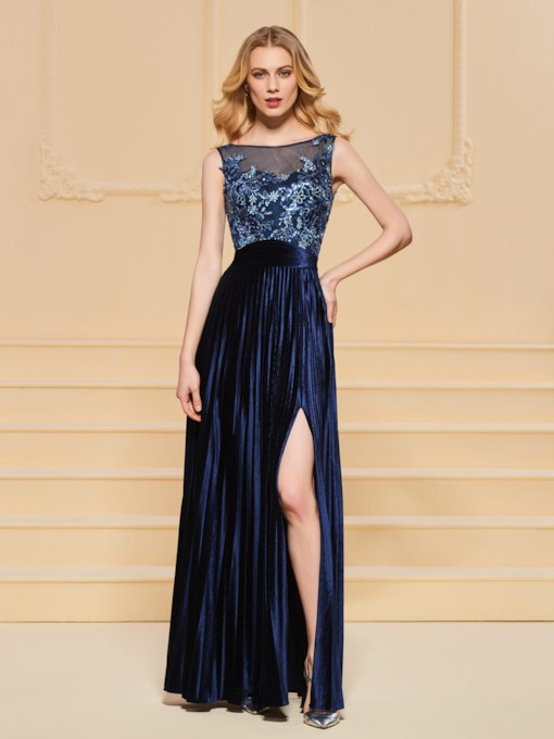 A-Line Beading Bateau Button Lace Split-Front Evening Dress