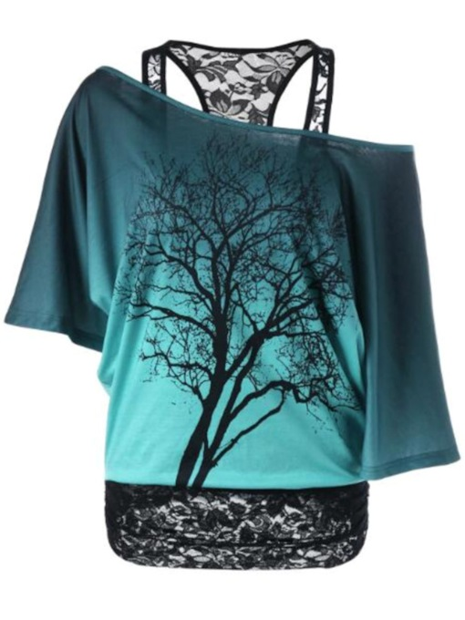 Lace Patchwork Oblique Collar T-Shirt With Tree Print