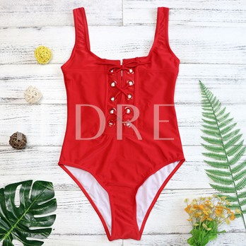 Solid Color Lace-Up Women's Monokini