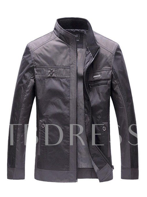 Stand Collar Thicken Warm Thin Smart and Casual Men's Jacket