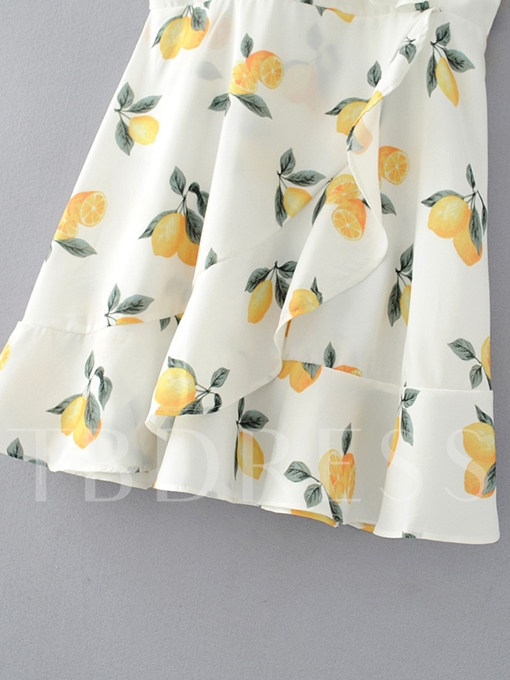 White Lemon Pattern Women's Sexy Dress