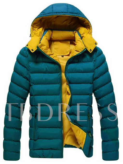 Hooded Color Block Slim Men's Winter Jacket