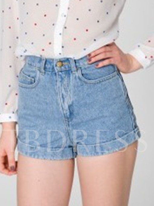 Plain High Waist Pocket Women's Denim Shorts