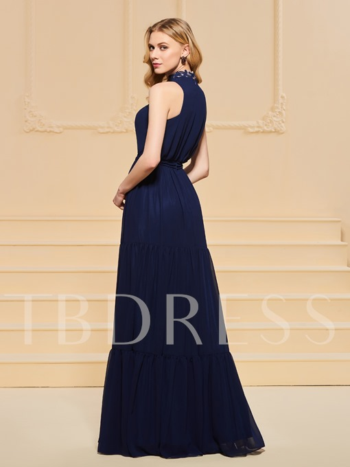 A-Line High Neck Appliques Evening Dress