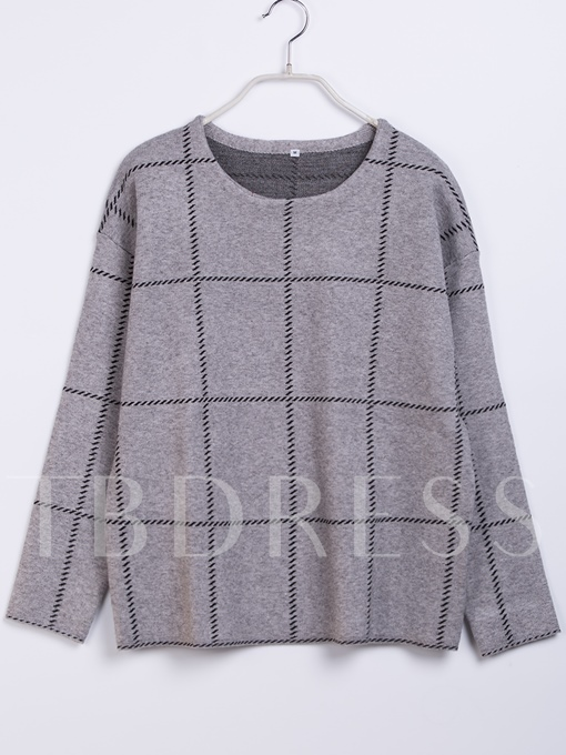 Wide Plaid Round Neck Long Sleeve Pullover Women's Sweater