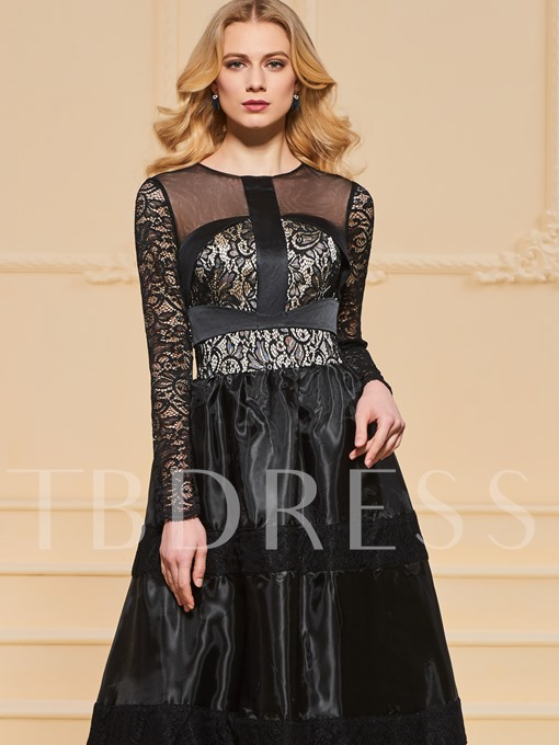 A-Line Scoop Lace Long Sleeves Evening Dress