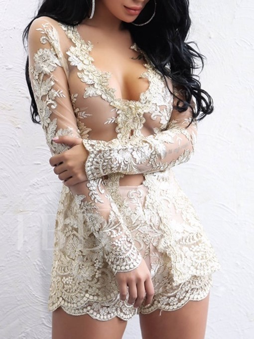 Lace See-Through Wrapped Women's Romper
