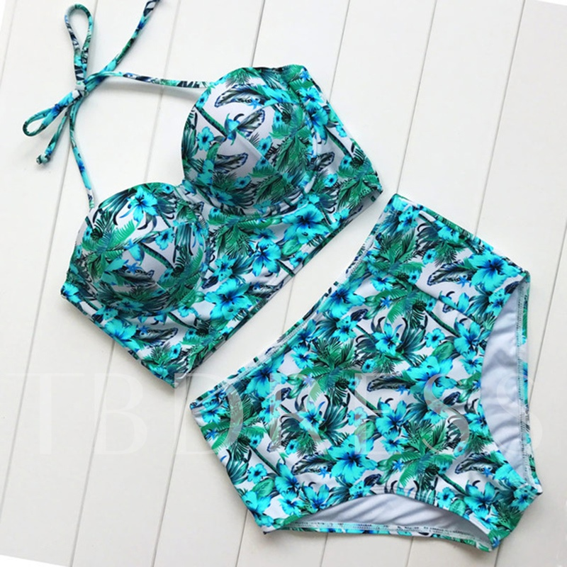 Flower Print High-Waist Halter Bikini Set