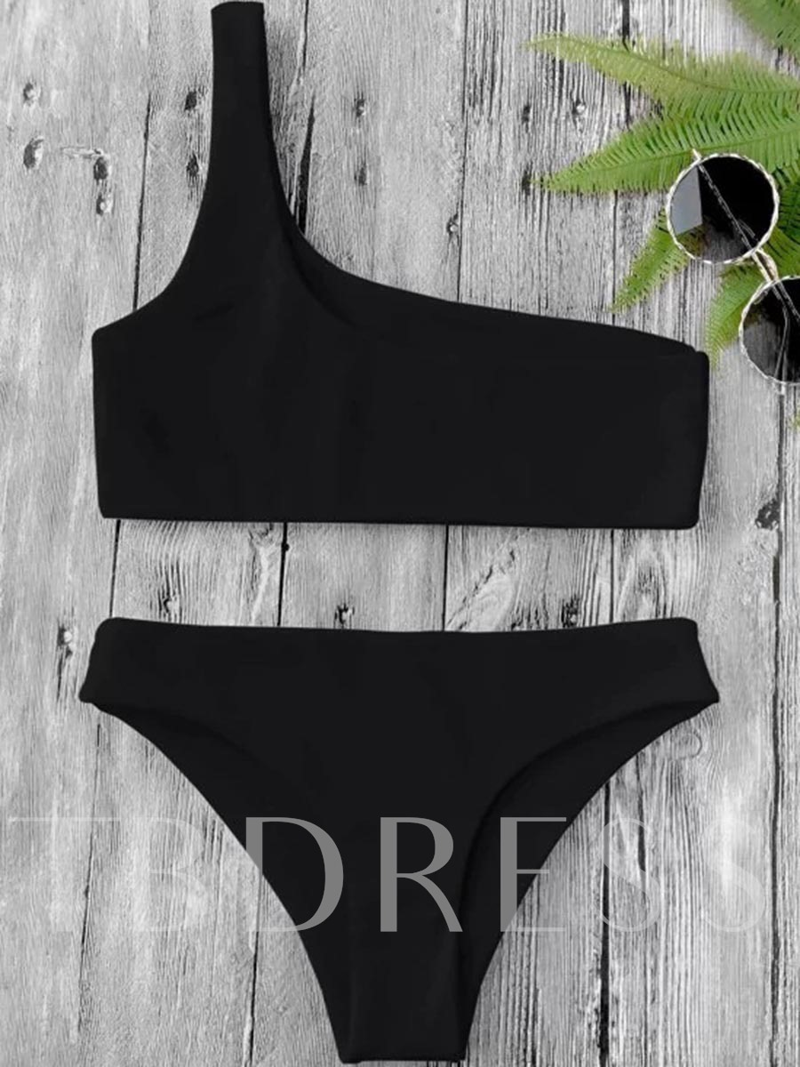 One Shoulder Bandeau Women's Bikini Set