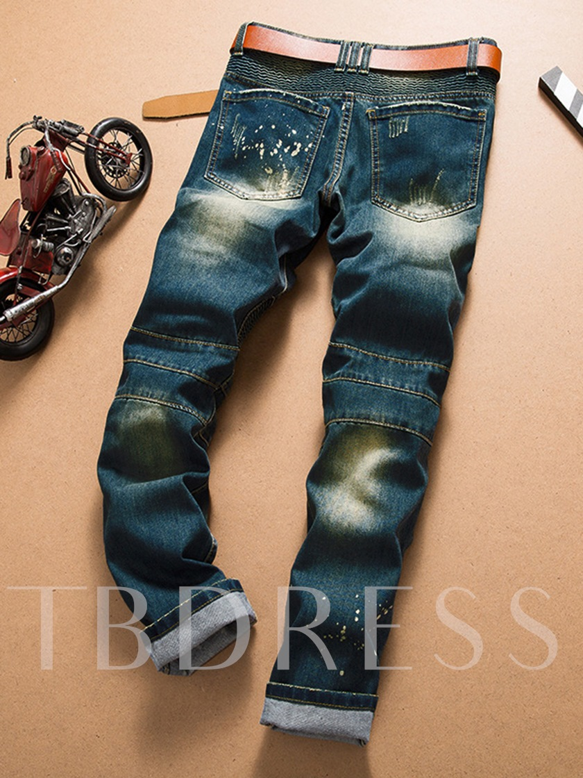 Motor Style Zipper Hole Worn Straight Slim Fit Men's Fashion Jeans