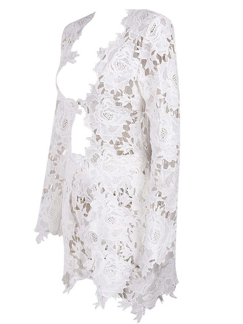 Lace Hollow See-Though Women's Two Piece Set