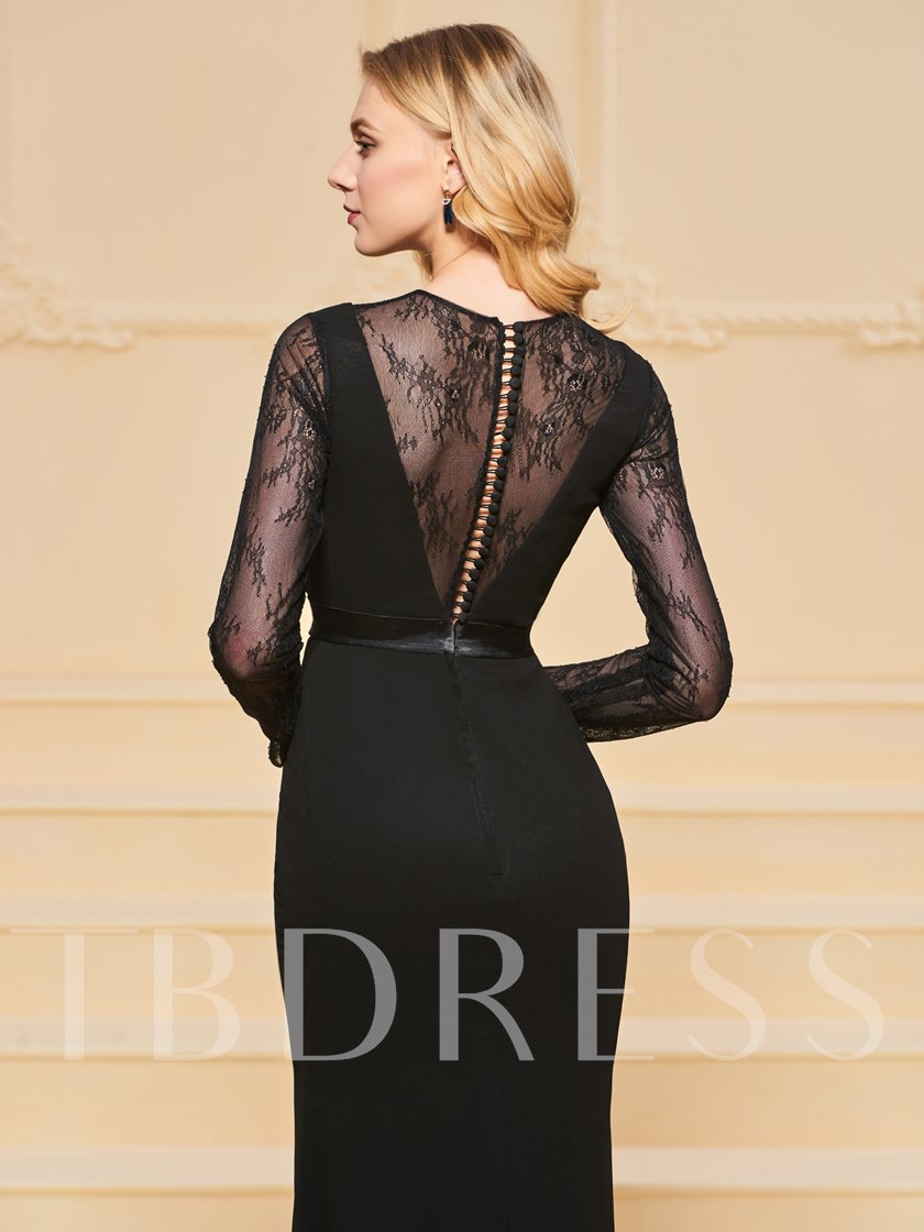 Scoop Sheath Button Lace Sashes Evening Dress