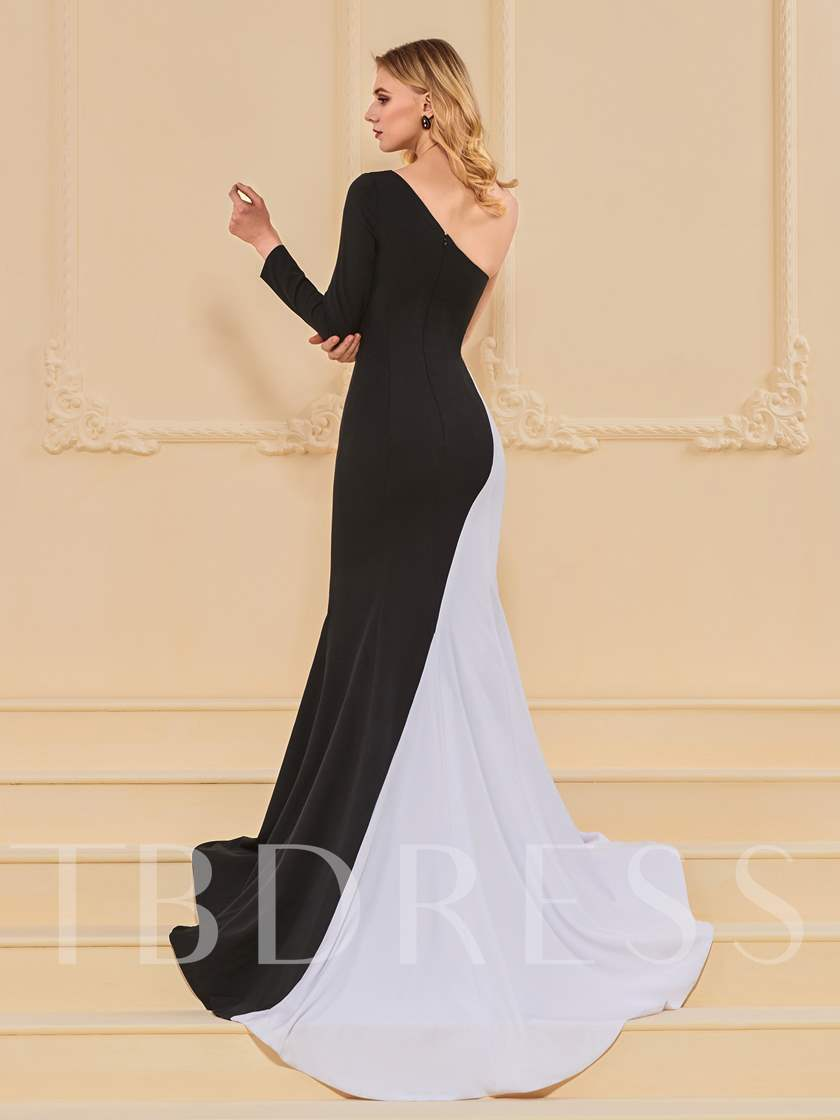 A-Line One-Shoulder Multi Color Evening Dress