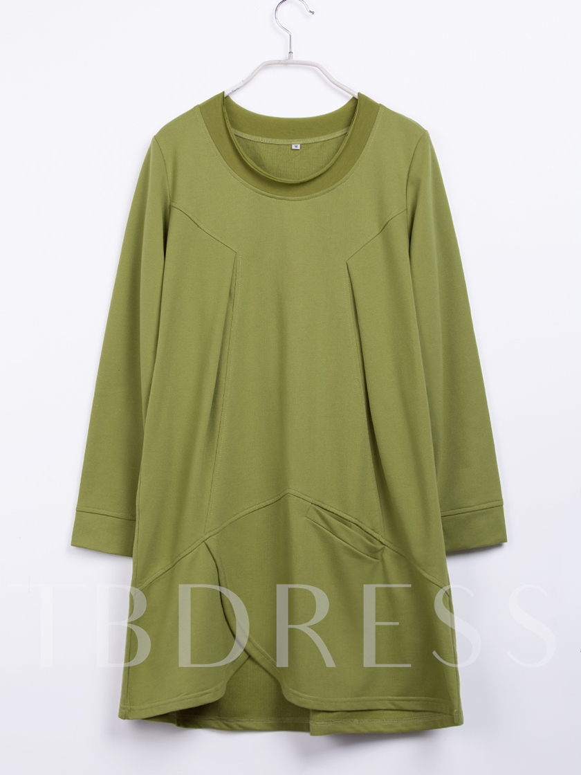 Long Sleeve Plain Loose Above Knee Pullover Women's Day Dress