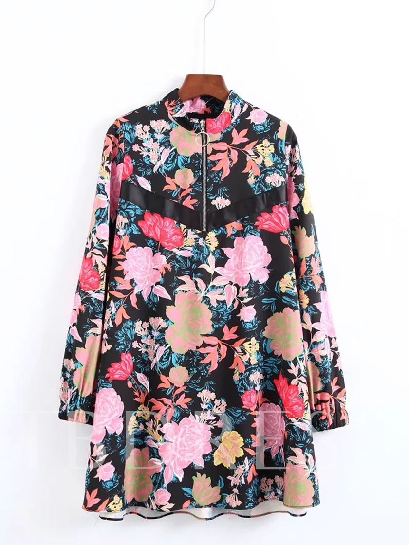 Long Sleeve Printing Zippered Women's Day Dress