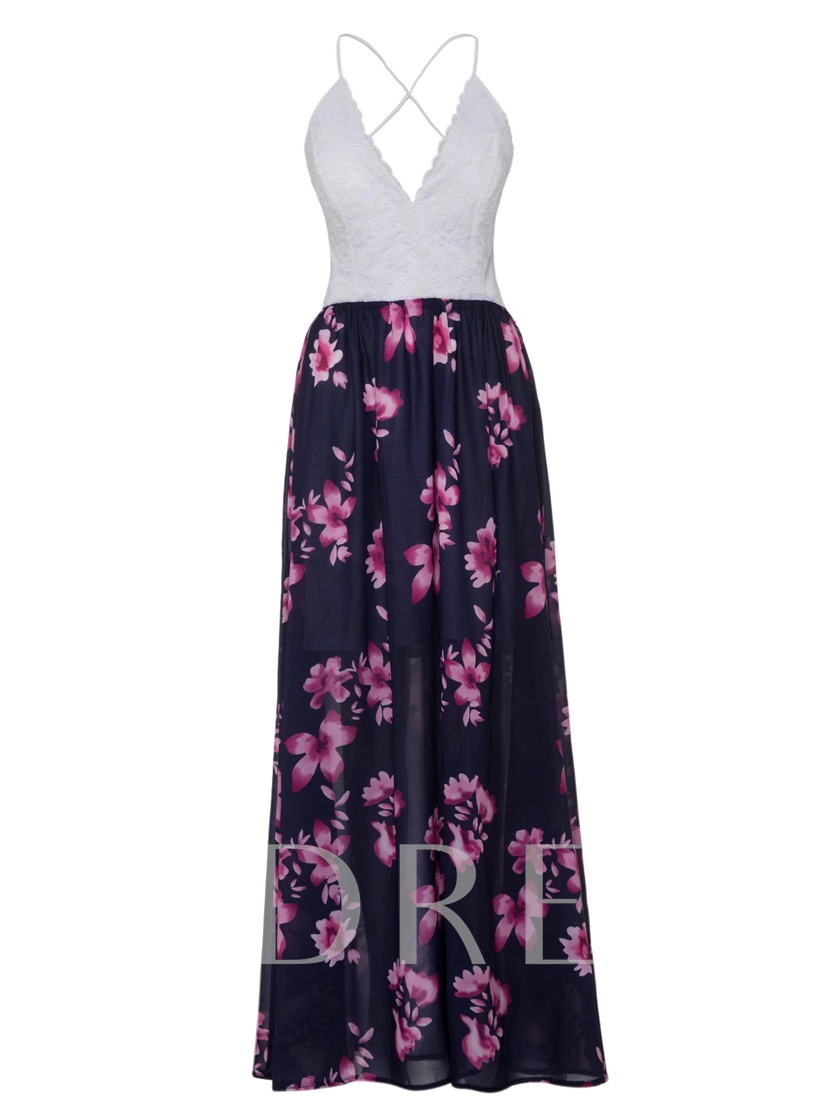 Backless Lace Print Women's Party Dress