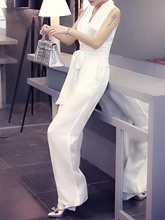 Plain Wide Legs Mid Waist Women's Jumpsuit