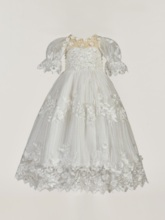 Long Beading Appliques Flowers Baby Girls Christening Gown