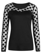 Polka Dot Long Sleeve Women's Basic Tee Shirt