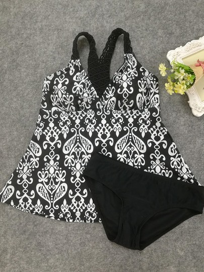 Lace Patchwork Floral Printing Women's Tankini Set