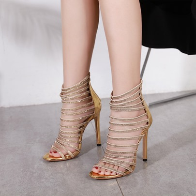 Rhinestone Lace Buckle Gold Heels Sandals for Women