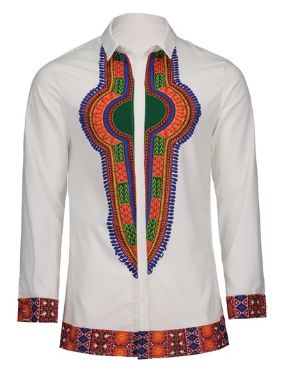 Dashiki Lapel African Print Slim Luxury Men's Shirt