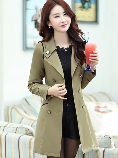 Mid Length Double Breasted Women's Trench Coat