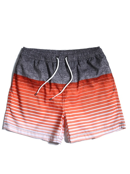 Stripe Print Cotton Slim Men's Swim Shorts