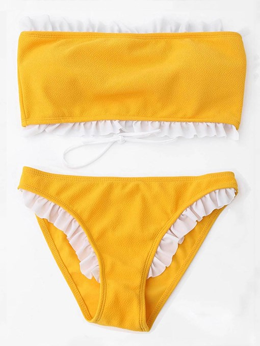 Yellow Falbala Patchwork Bikini Set