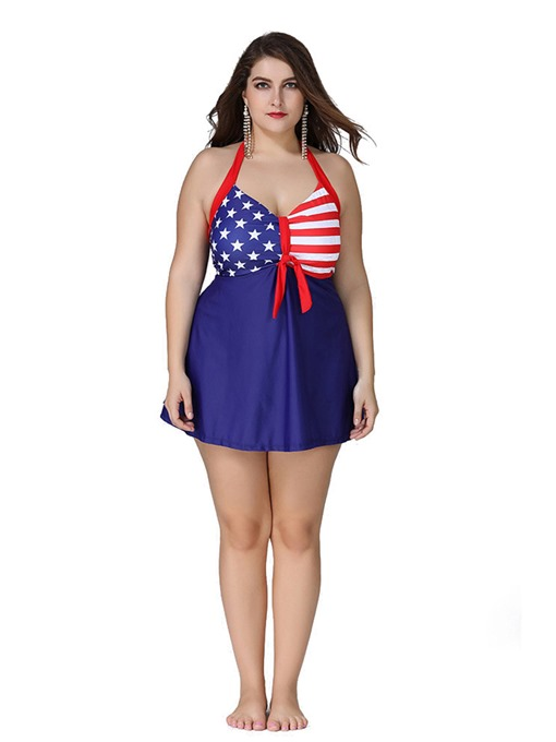 American Flag Print Bowknot Dress Plus Size Tankini