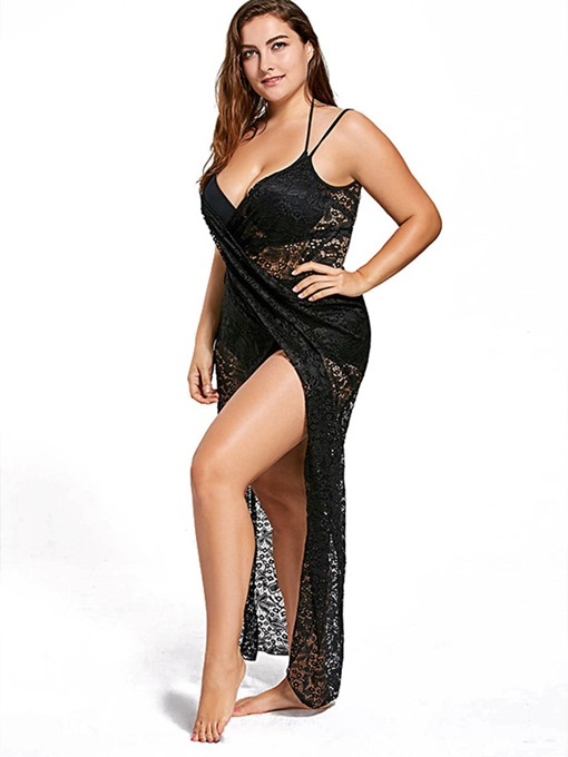 Black Lace Beach Dress Women's Plus Size Cover Up