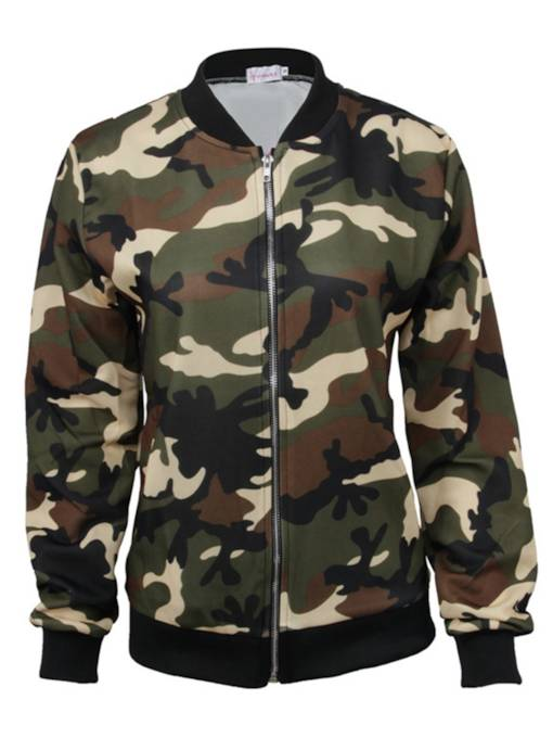 Chic Camo Zipper Up Women's Short Jacket
