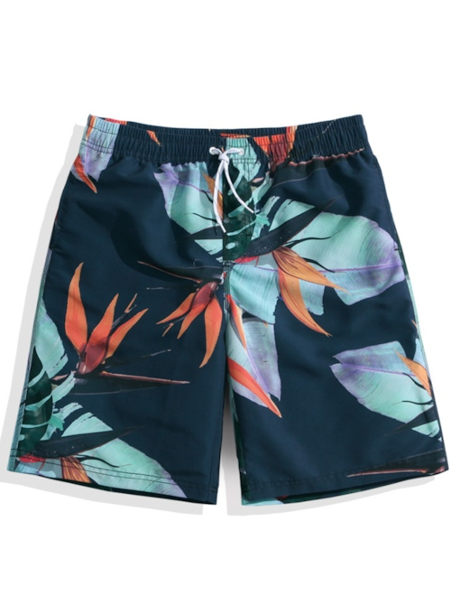 Floral Print Waterproof Quick Dry Men's Swim Shorts