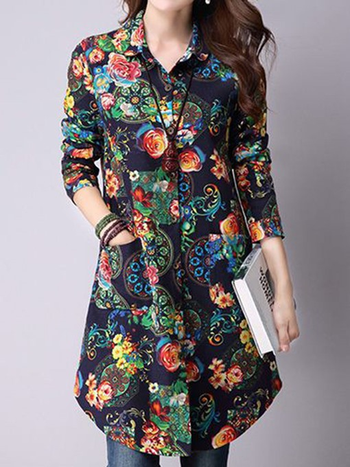 Ethnic Style Mid Length Hawaiian Shirt Women's Floral Blouse
