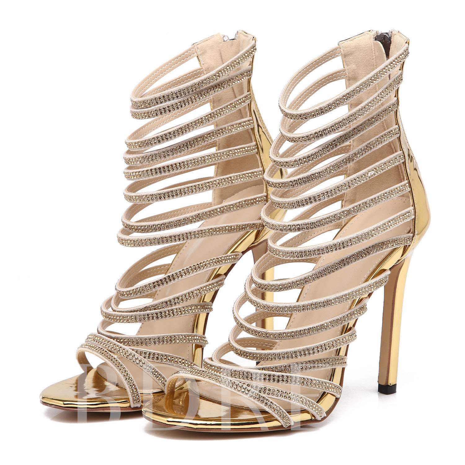 Rhinestone Lace Buckle Gold Heels Sandals for Women, Spring,Summer, 13176674