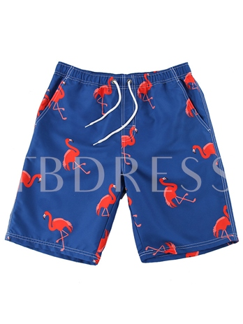 Flamingos Print Loose Men's Swim Shorts