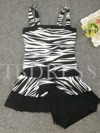 Zebra Stripe Patchwork Short Dress Women's Tankini Set