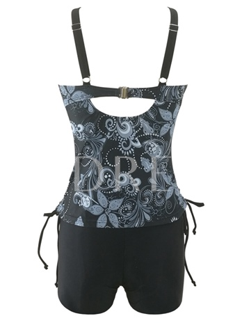 Floral Printing Lace-Up Patchwork Women's Tankini Set