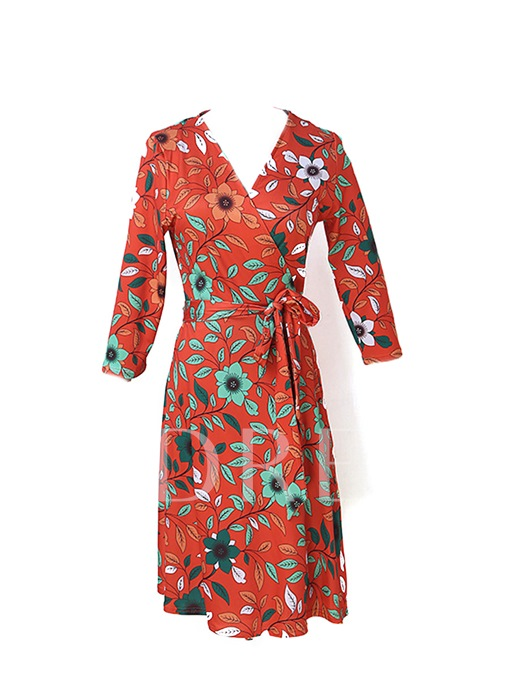 Orange Red Leaf Pattern Women's Day Dress