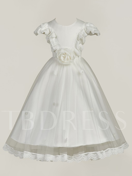 Chiffon Cap Sleeves Christening Gown for Baby Girl