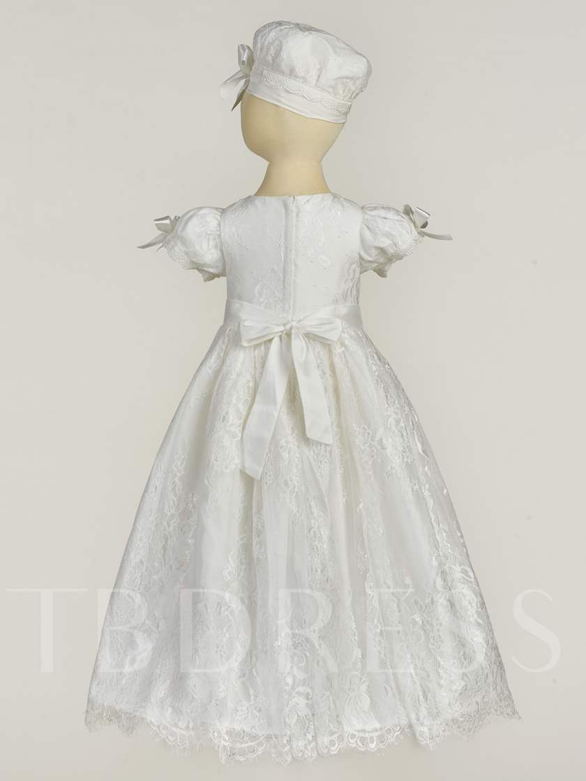 Lace Long Robe Christening Gown for Girls With Hat