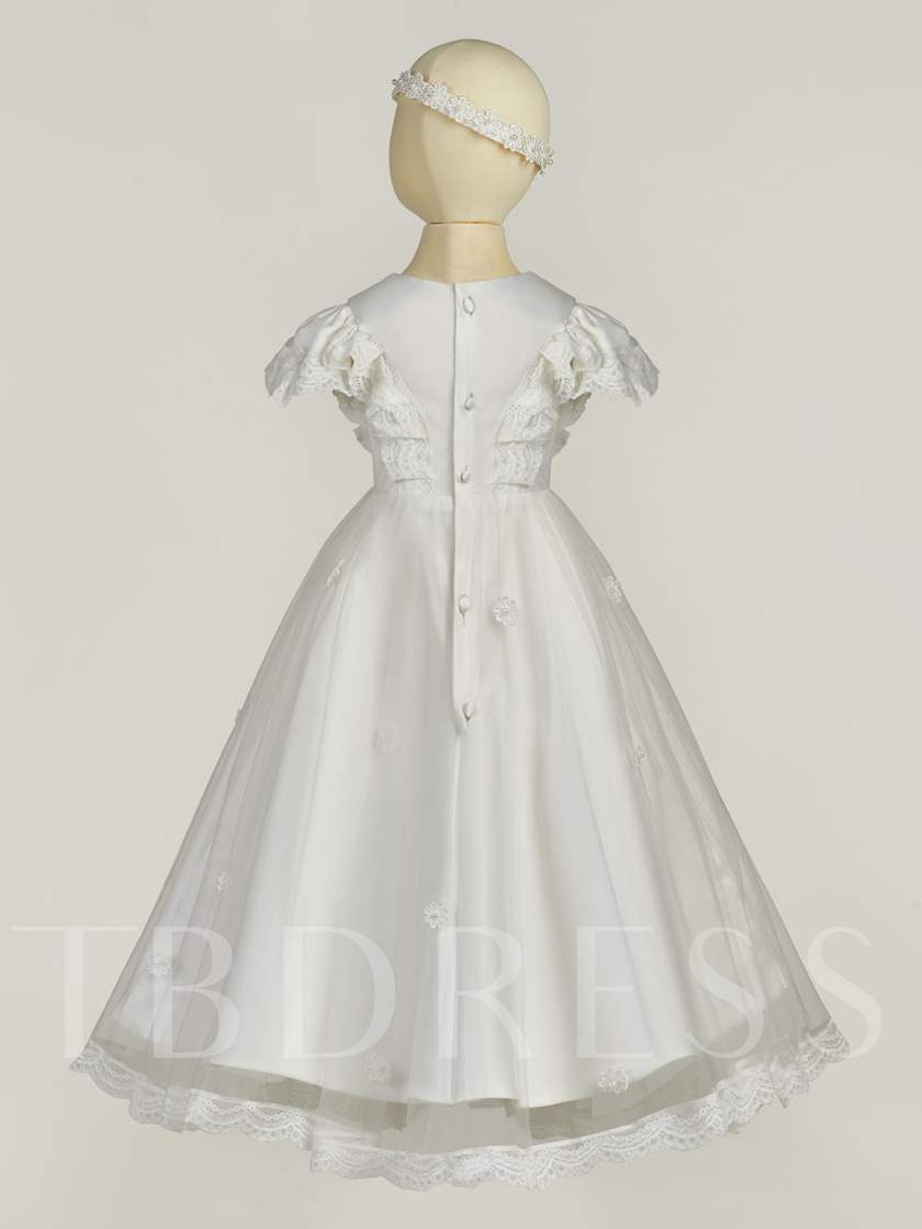 Cap Sleeves Christening Gown for Baby Girl