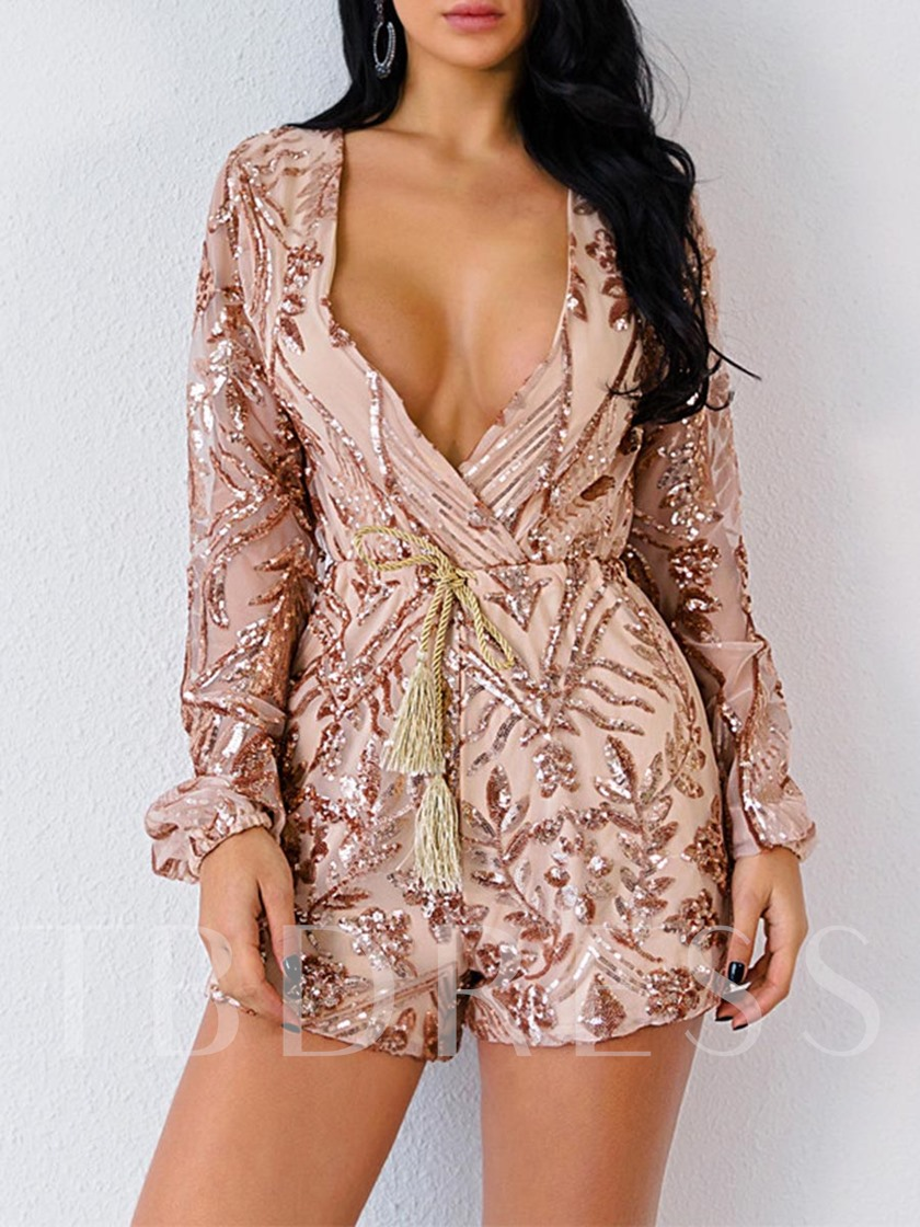 Sexy V Neck Long Sleeves Lace Women's Sequin Rompers Shorts Culbwear