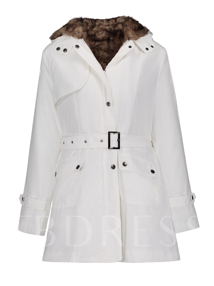 Hooded Rivet Detachable Lining Women's Overcoat