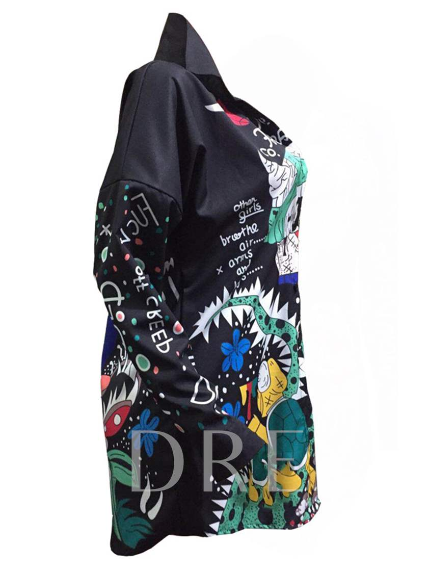 Black Graffiti Pattern Women's Shirt Dress