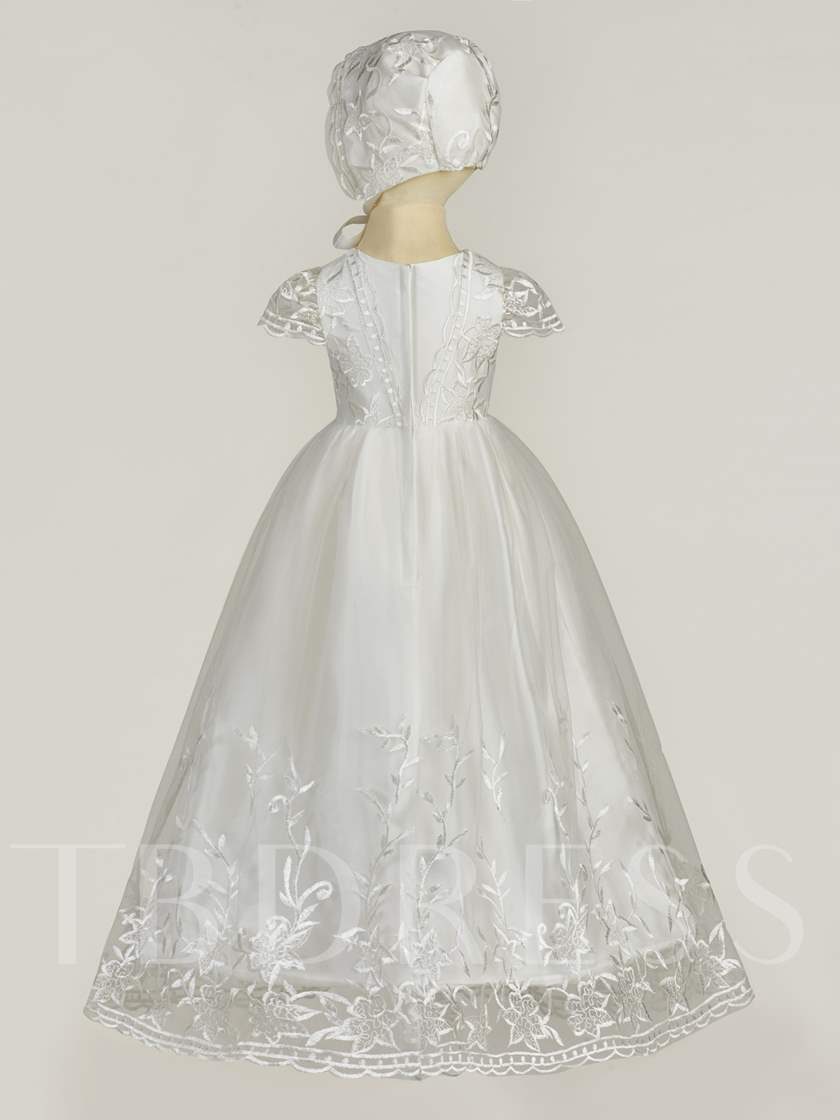 Lace Scoop Cap Sleeves Christening Dress for Girl