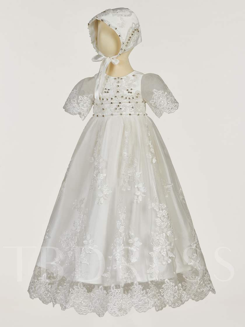 Beading Appliques Short Sleeves Baby Girl's Christening Gown
