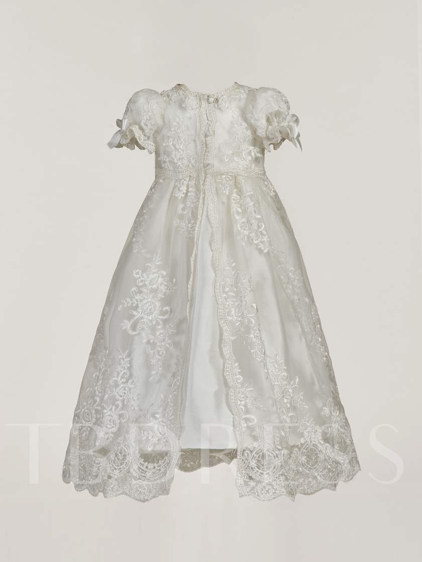 Baby Girl Lace Christening Gown with Bonnet