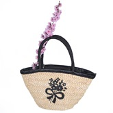 Handmade Embroidery Women Straw Shoulder Bag